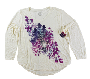 RGRiley | Hanes Plus Size Chalk White Printed Long Sleeve V-Neck T-Shirts | Clos