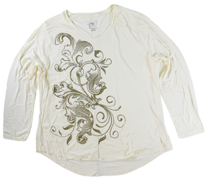 RGRiley | Hanes Plus Size White Printed Long Sleeve V-Neck T-Shirts | Closeout