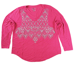 RGRiley | Hanes Plus Size Pink Printed Long Sleeve V-Neck T-Shirts | Closeout