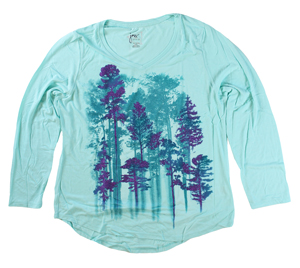 RGRiley | Hanes Plus Size Mint Printed Long Sleeve V-Neck T-Shirts | Closeout