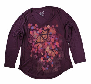 RGRiley | Hanes Plus Size Plum Printed Long Sleeve V-Neck T-Shirts | Closeout
