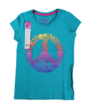 RGRiley | Hanes Girls Blue Printed Short Sleeve T-Shirts | Closeout