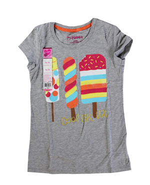 RGRiley | Hanes Girls Light Steel Printed Short Sleeve T-Shirts | Closeout