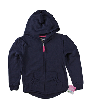 RGRiley | Hanes Girls Navy Zipper Hooded Sweatshirts | Closeout