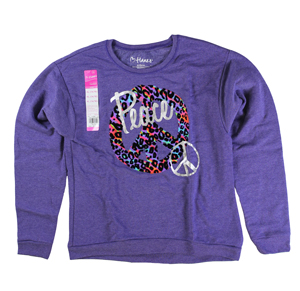 RGRiley | Hanes Girls Printed Fleece Crew Neck Sweatshirts | Closeout