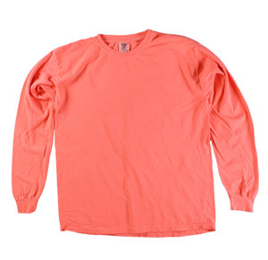 RGRiley | Comfort Color Neon Red Orange Long Sleeve T-Shirts | Mill Graded