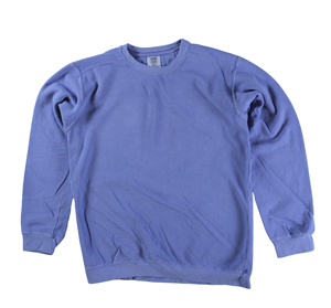 RGRiley | Comfort Color Flo Blue Crew Neck Sweatshirts | Irregular