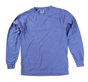 RGRiley | Comfort Color Marginal Flo Blue Long Sleeve T-Shirts | Closeout