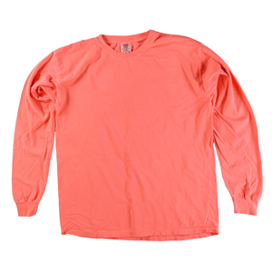 RGRiley | Comfort Color Marginal Neon Red Long Sleeve T-Shirts | Closeout