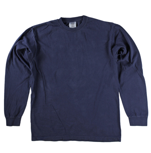 RGRiley | Comfort Color Marginal True Navy Long Sleeve T-Shirts | Closeout