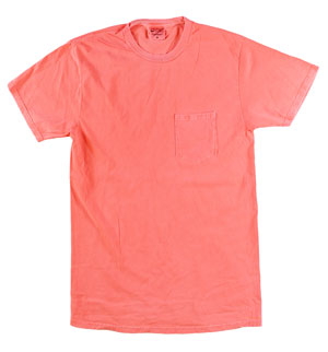 RGRiley | Mens Bulk Garment Dyed T-Shirts Neon Coral | Graded Irregular