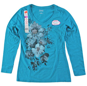 RGRiley | Womens Long Sleeve Print Dark Aqua Tee | Bulk Wholesale Hanes Closeout