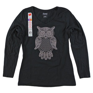 RGRiley | Womens Long Sleeve Print Ebony Tee | Bulk Wholesale Hanes Closeout