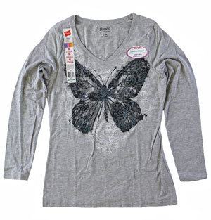RGRiley | Womens Long Sleeve Print Light Steel Tee | Bulk Wholesale Closeout