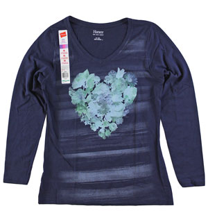 RGRiley | Womens Long Sleeve Navy Print Tee | Bulk Wholesale Hanes Closeout