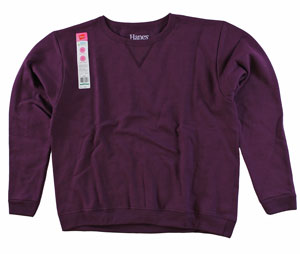 RGRiley.com | Womens Bulk Fleece Crew Necks | Hanes PLum Port | Closeout