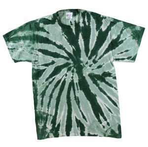 RGRiley | Mens Garment Dyed Tie Dye T-Shirts Green Swirl | Graded Irregular