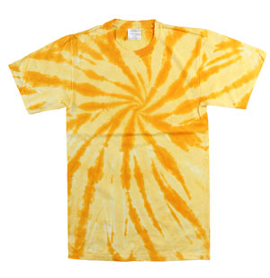 RGRiley | Mens Garment Dyed Tie Dye T-Shirts Gold Swirl | Graded Irregular