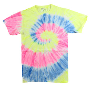 RGRiley | Mens Garment Dyed Tie Dye T-Shirts Neon Rainbow | Graded Irregular