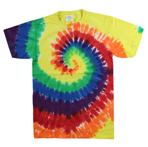 RGRiley | Mens Garment Dyed Tie Dye T-Shirts Rainbow | Graded Irregular