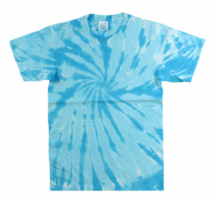 RGRiley | Mens Garment Dyed Tie Dye T-Shirts Turquoise Swirl | Graded Irregular