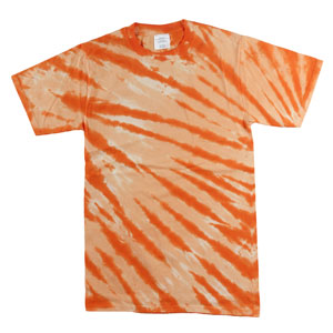 RGRiley | Mens Garment Dyed Tie Dyed Orange Stripe T-shirts  | Gaded Irregular