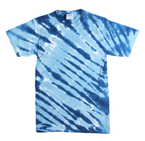 RGRiley | Mens Garment Dyed Tie Dyed Blue Stripe T-shirts | Slightly Irregular