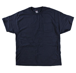RGRiley | Mens Hanes Beefy 100% Cotton Navy Pocket Tee Shirts | Closeout