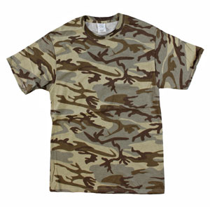 RGRiley | Mens Tan Camouflage T-Shirts | Irregular