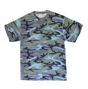 RGRiley | Mens Urban Blue Camouflage T-Shirts | Irregular