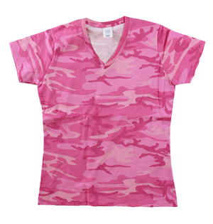 RGRiley | Womens Pink Camouflage V-Neck T-Shirts | Irregular