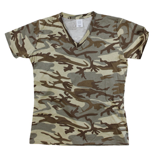 RGRiley | Womens Tan Camouflage V-Neck T-Shirts | Irregular