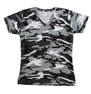 RGRiley | Womens White Camouflage V-Neck T-Shirts | Irregular