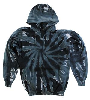 RGRiley | Mens Black Swirl Tie Dye PullOver Hood | Slightly Irregular