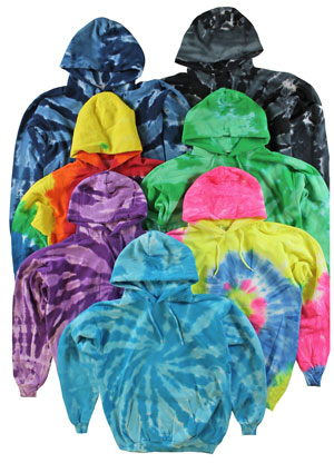 RGRiley | Mens Tie Dye Pull Over Hooded Sweatshirts | Slightly Irregular