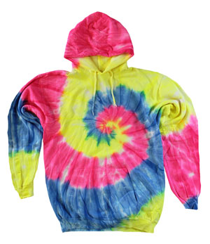 RGRiley | Mens Neon Swirl Tie Dye Pullover Hood Sweatshirts | Slightly Irregular
