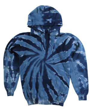 RGRiley | Mens Navy Swirl Tie Dye Pullover Hood Sweatshirts | Slightly Irregular