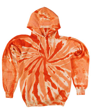 RGRiley | Mens Orange Swirl Tie Dye Pullover Hoodies | Irregular