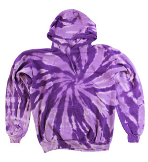 RGRiley | Mens Purple Swirl Tie Dye Pullover Hood | Slightly Irregular