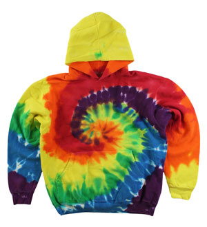 RGRiley | Mens Rainbow Swirl Tie Dye Pullover Hood | Slightly Irregular