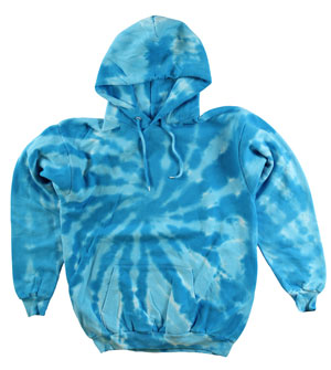 RGRiley | Mens Turquoise Swirl Tie Dye Pullover Hood | Slightly Irregular