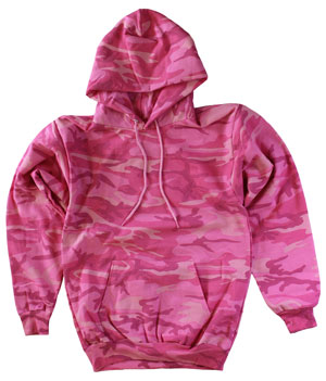 RGRiley | Mens Pink Camouflage Pull Over Hooded Sweatshirts | Slightly Irregular