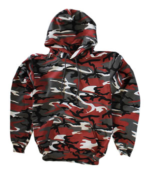RGRiley | Mens Red Camouflage Pull Over Hooded Sweatshirts | Slightly Irregular
