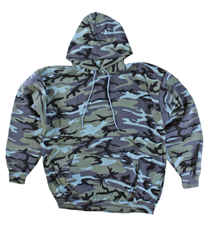 RGRiley | Mens Urban Blue Camouflage Pullover Hoodies | Irregular