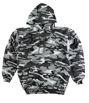 RGRiley | Mens Urban White Camouflage Pullover Hoodies | Irregular