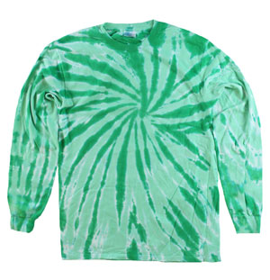 RGRiley | Mens Kelly Green Swirl Tie Dye Long Sleeve T-Shirts | Irregular
