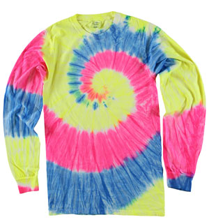 RGRiley | Mens Neon Rainbow Swirl Tie Dye Long Sleeve T-Shirts | Irregular