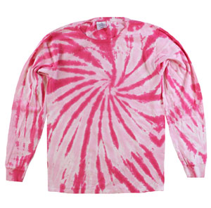 RGRiley | Mens Pink Swirl Tie Dye Long Sleeve T-Shirts | Irregular