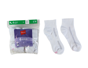 RGRiley | Hanes Womens White Ankle Socks | Irregular
