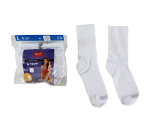 RGRiley | Hanes Womens White Crew Socks | Irregular